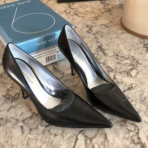 Black Leather Pointed Toe Freda Stiletto Pumps